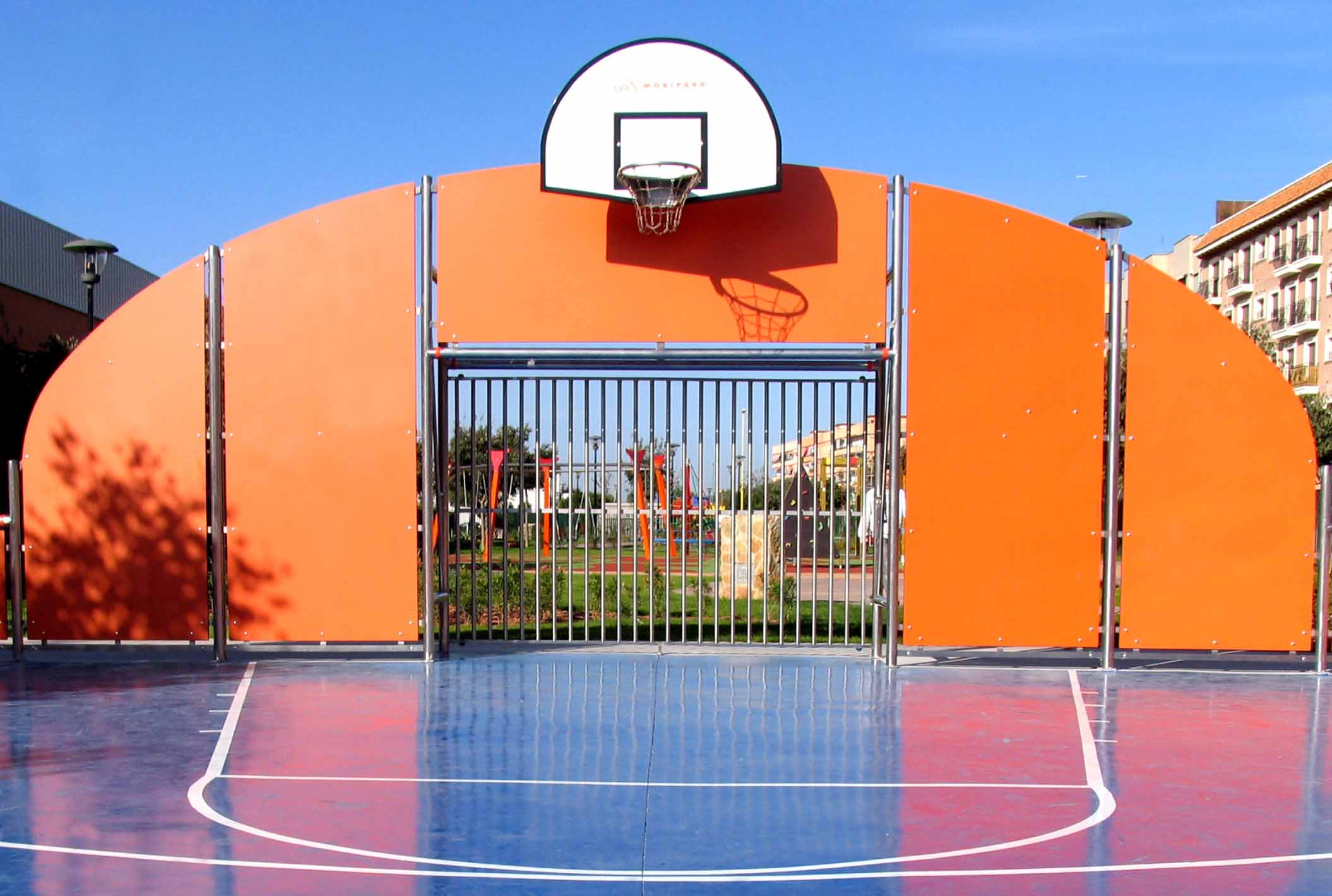 multisport court with surface finish with acrilyc paint with line markings