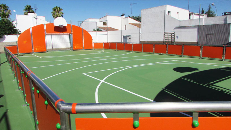 multisport court with surface finish artificial turf