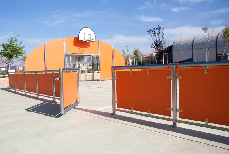 multisport court with entrance with door