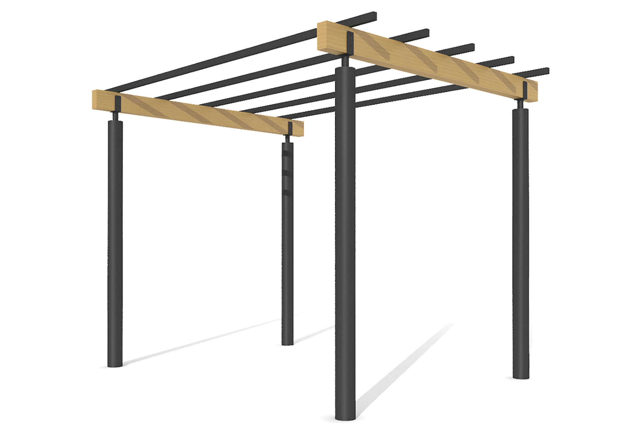 Pergola of wood and steel for outdoors
