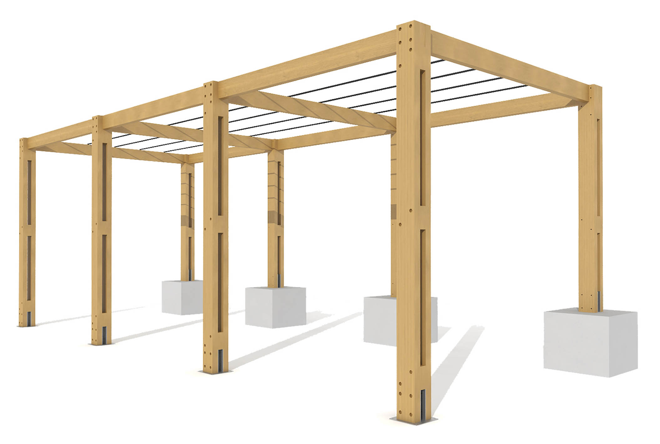 Rendering of pergola of wooden beams and iron bars