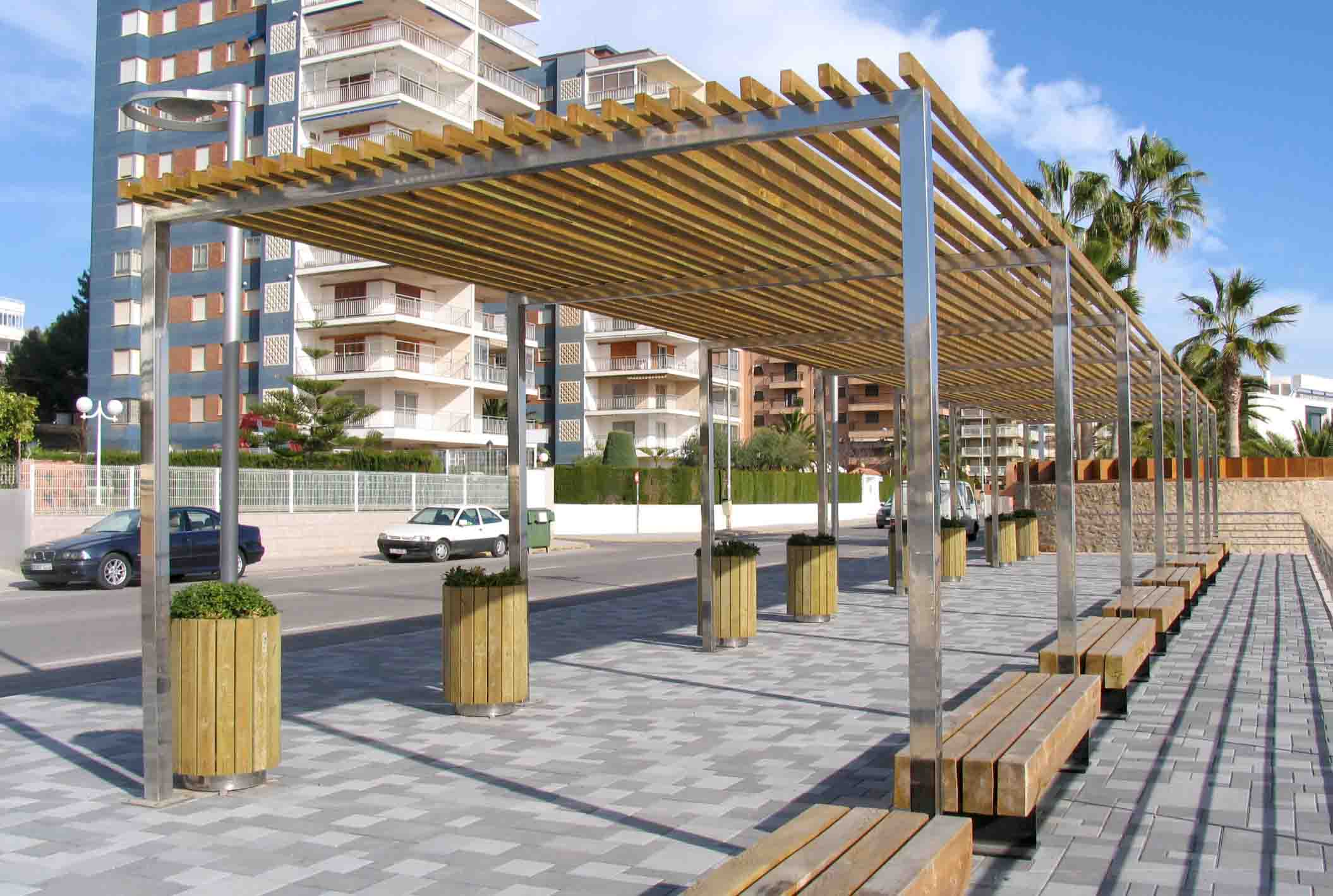 Pergola of wood and steel at a seafront