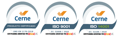 children's equipment certified according to the safety standard UNE-EN 1176:2018