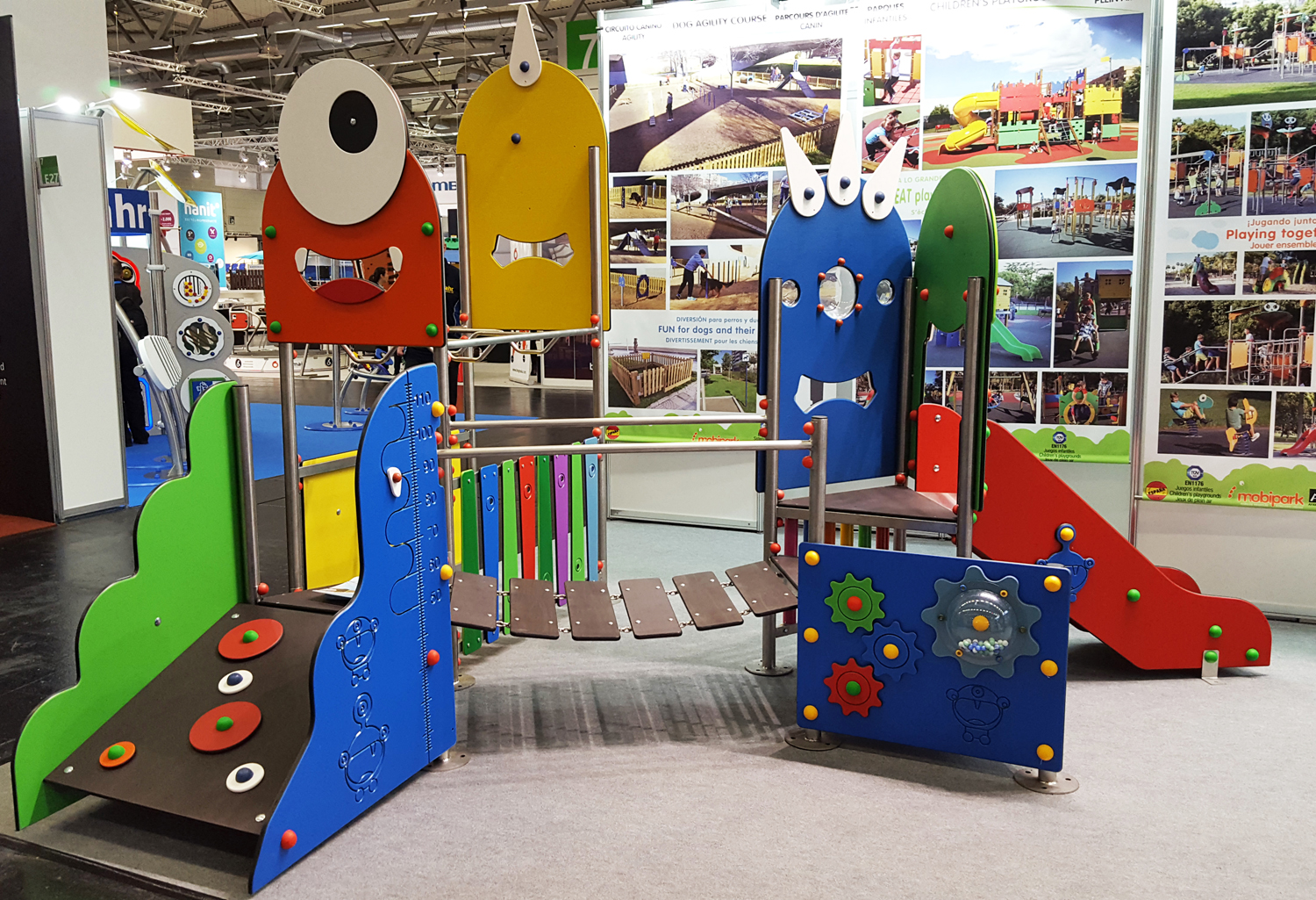 multi-activity play structure with monsters exposed at trade fair Tecma 2018