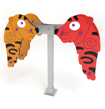 big seesaw with animals with tiger-shaped figures