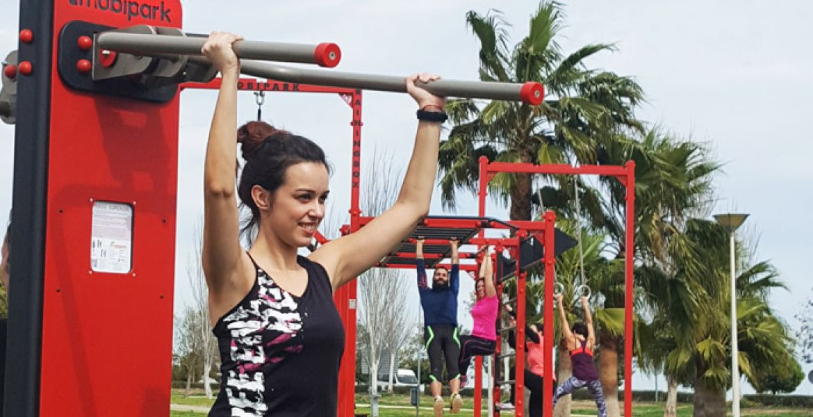 outdoor gym with fitness machines and exercise cage for Crossfit training, calisthenics and Street Workout